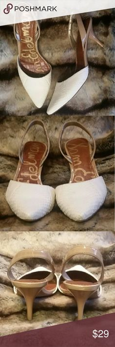 "Sam Edelman Orly White Slingback Heels 7.5 Excellent Condition.  Like New!  No Noted Flaws. White Faux Snakeskin Tan Patent Leather Heel, Arch & Slingback Gentle Wear To Soles 3"" Heel Sam Edelman Shoes Heels"