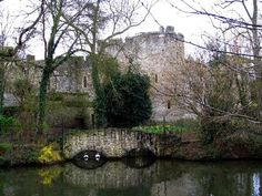 view of the lake near Allington Castle in Maidstone Kent- England