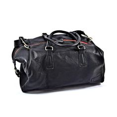 Pampa Large Duffle Bag Black/ Red Zipper by Roque Bags