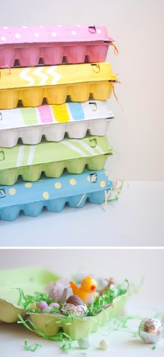 DIY: Easy Painted Egg Cartons. Fill them with little toys, colored eggs or sweets. So cute! By Design Mom