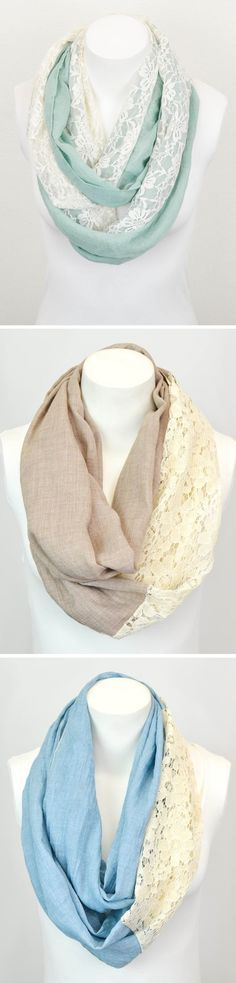 adorable infinity scarves in mint, tan, and blue with white lace