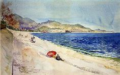 On the Beach below the Promenade des Anglais, Nice, France, 1898, Cass Gilbert, watercolor and pencil on paper, 11 3/4 x 18 1/4 in. (30.0 x 46.3 cm), Smithsonian American Art Museum, Bequest of Emily Finch Gilbert through Julia Post Bastedo, executor