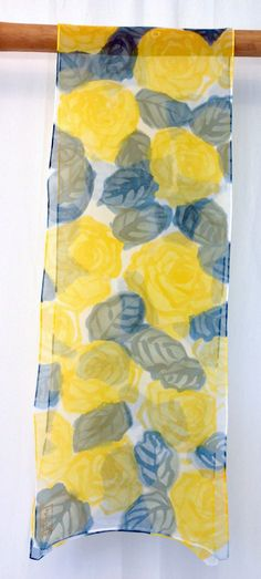 Silk Scarf Hadpainted Pretty in Yellow Roses by SilkScarvesTakuyo