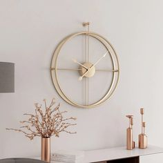 Large Silent Wall Clock Modern Design Clocks For Home Decor Office European Style Hanging Wall Watch Clocks - WelcomeHome-WH Gold Wall Clock, Metal Clock, Wall Clock Decor, Best Wall Clocks, Wall Clock Design, Minimalist Wall Clocks, Minimalist Decor, Minimalist Design, Minimalist Christmas