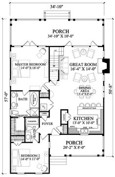 1985 sq ft Cape Cod Cottage Country Southern House Plan 86106 Level One Southern House Plans, Country House Plans, Small House Plans, Cottage Floor Plans, House Floor Plans, Cape Cod Cottage, Cabin Plans, House Layouts, Cottage Homes