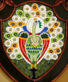 """""""The Celestial Bird (2002).  This mosaic is representative of a bird (the peacock) that cross-culturally embodied paradise, rebirth and immortality. The figure of the peacock has been used extensively, not only in illustrations and murals, but also as part of religious imagery in Christian, Muslim, Hindu and Buddhist art."""""""