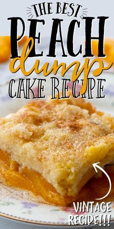 This old-fashioned peach dump cake is quick and easy dessert you'll absolutely love. A dump cake is a cake made by dumping the ingredients, which typically include store-bought cake mix, directly in a pan before baking. For this recipe, we used canned peaches along with cinnamon and cake mix to create a bubbly and warm dessert. It's the best when served fresh and hot out of the oven with cold vanilla ice cream scooped on top. Köstliche Desserts, Homemade Desserts, Delicious Desserts, Health Desserts, Dessert Recipes, Fudge, Peach Cobbler Dump Cake, Cake Mix Cobbler, Pastries