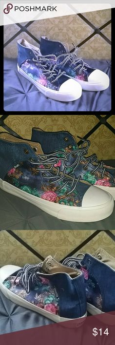 NWOB Floral hightops Size 7.5, NWOB beautiful silky floral print fashion hightops! Shoes Sneakers