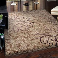 Shaggy Brown Area Rug With Floral Patterns