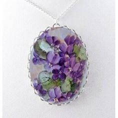 Purple Violet Flowers Necklace Porcelain Glass Jewelry