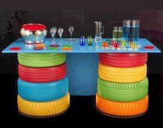 Artesanato com Reciclagem: Mesa com reciclagem de pneus usados