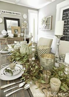 ~rooms FOR rent~: Mercury Glass Thanksgiving Tablescape {Grand Finale} Thanksgiving Table Settings, Thanksgiving Centerpieces, Holiday Tables, Fall Home Decor, Autumn Home, Deco Table Noel, Seasonal Decor, Holiday Decor, Rooms For Rent