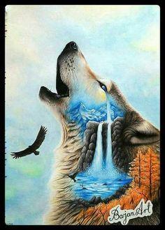 Feed the wolf inside you. Feed the wolf inside you. Animal Paintings, Animal Drawings, Tattoos Lobo, Indian Wolf, Wolf Artwork, Wolf Spirit Animal, Wolf Painting, Fantasy Wolf, Wolf Tattoo Design