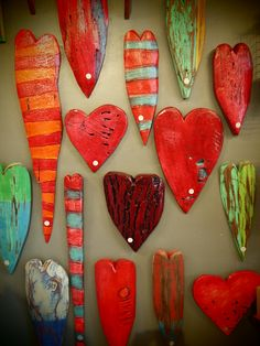 Wooden Hearts - Luon StPierre .. could easily make these with clay ..