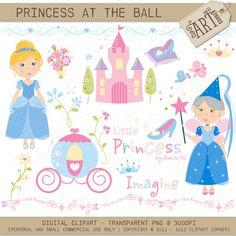 Digital Clipart - Princess At The Ball (DC-4576). $3.50, via Etsy.