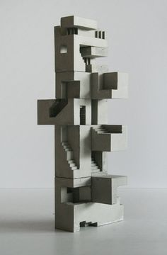 Brutalist sculptures by David Umemoto is part of - David Umemoto's modular cubic sculptures are studies of volume—at the juncture of sculpture and architecture The miniature concrete structures are monumental and rearrangable, conveying numerous images Sculpture Ornementale, Concrete Sculpture, Sculptures Céramiques, Concrete Art, Abstract Sculpture, Ceramic Sculptures, Collage Architecture, Interior Architecture, Architecture Models