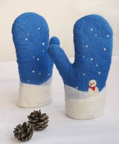 snowman wool felt mittens 100 percent  handmade by lewin on Etsy, $65.00