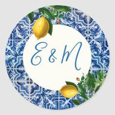 Shop Wedding Lemon Blue Tile Monogram Summer Classic Round Sticker created by Just_Fine_Designs. Monogram Wedding Invitations, Wedding Stationary, Monogram Stickers, Custom Stickers, Showers Of Blessing, Mediterranean Tile, Lemon Party, Blue Tiles, Wedding Stickers