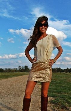 Gold Sequin Dress- Must have this!!! Love it with the boots!