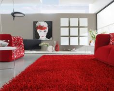 tapis poil long en rouge