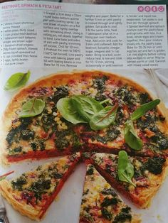 Beetroot spinach and  feta tart