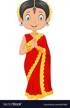 Indian girl with traditional dress vector image on Cartoon Girl Drawing, Girl Cartoon, Cartoon Drawings, Couple Cartoon, Dark Art Drawings, Cute Drawings, Indian Illustration, Puppets For Kids, Cute Cartoon Pictures