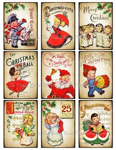 INSTANT DOWNLOAD Christmas Digital Collage Sheet, Printable Labels of Retro Vintage Children, Altered Art ACEO