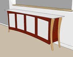 glass door sideboard with curved top - change legs (do darker top, lighter frame area)