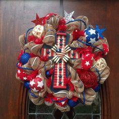 Patriotic Cross Wreath by HertasWreaths on Etsy