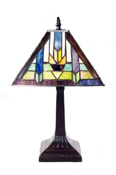 River of Goods 13179 15.5-Inch H Stained Glass Mission Style Santa Fe Table Lamp  - Click image twice for more info - See a larger selection of tiffany table lamps at http://tablelampgallery.com/product-category/tiffany-table-lamps/ - home, home decor, home ideas, lightning, gift ideas, lamp.