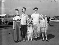 Tommy Rettig and Joey D. Vieira on a tour with Lassie in 1955. Tommy was the kid who owned Lassie I grew up watching on TV (1954-57) - he played Jeff Miller and Joey Viera played his pal Porky.