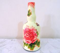 Napkin Decoupage, Flower Vases, Flowers, Paper Napkins, Floral Motif, Handmade Crafts, Glass Bottles, Hand Painted, Pattern