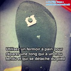 Si vous avez des tongs, alors vous connaissez ce problème : La petite pièce du côté de la semelle s'use, ou bien se détache carrément. Résultat, vous vous retrouvez avec une chaussure inutilisable... Heureusement, voici l'astuce pour régler ce problème :-)  Découvrez l'astuce ici : http://www.comment-economiser.fr/astuce-reparer-tong.html?utm_content=buffer244c9&utm_medium=social&utm_source=pinterest.com&utm_campaign=buffer