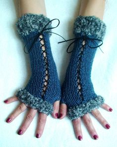 Fingerless Gloves Corset Wrist Arm Warmers in Blue by LaimaShop, $38.00