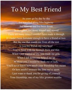 Personalised To My Best Friend Poem Birthday Christmas Gift Present