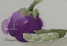Watercolor painting of veggies - eggplant and lima beans, by RoseAnn Hayes, available in Etsy shop.