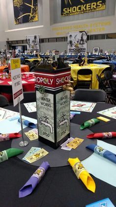 Waterworks centerpiece monopoly - blue and gold Monopoly Themed Parties, Monopoly Party, Monopoly Classroom, Board Game Themes, Board Games, Game Night Decorations, Casino Decorations, Conference Themes, Game Night Parties