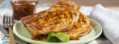 Spicy grilled pork chops wide enlarged