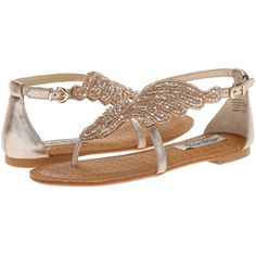 Naughty Monkey Give me Wings Women's Sandals, Beige ($35) ❤ liked on Polyvore featuring shoes, sandals, beige, sequin sandals, beige shoes, naughty monkey, synthetic shoes and sparkly sandals