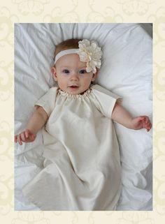 SALE Antique Ivory baby baptism dress GOWN cotton, simple SHILOH custom newborn to 6 unisex. $32.49, via Etsy.