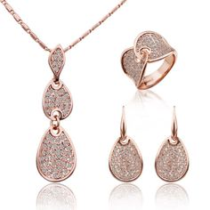 Womens 18K Rose Gold Filled Fashion Swarovski Necklace Earrings Ring Jewelry Set #bona