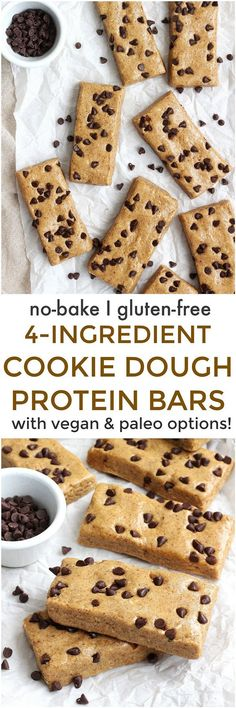 Cookie Dough Protein Bars - These Cookie Dough Protein Bars are a simple no-bake high-protein snack! Naturally gluten-free and made without any refined sugars, these bars are full of healthy fats and muscle-building protein. Vegan Dessert Recipes, Healthy Desserts, Baking Recipes, Whole Food Recipes, Snack Recipes, Healthy Fats, Protein Recipes, Healthy Baking, Paleo Recipes