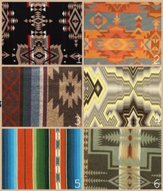 1 & 6 are from Pendleton 2 is from Great Southwest Style 3 is from Strictly Southwestern 4 & 5 are from Harts Fabric
