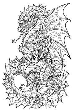 128 Best Dragon Coloring Page images in 2019 | Dragon ...