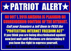 Protecting Internet Freedom Act / Obama is signing it over to the UN Oct 1st, and then he plans on running for Secretary General in the UN! We'll NEVER BE RID OF HIM!!