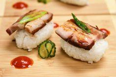 Cured and Smoked Pork Belly Sashimi Soy-Birch Glaze, Pickled English Cucumber,  Shaved Scallions (sesame oil, lemon zest), Sriracha