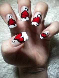 Santa hat nails, too cute,