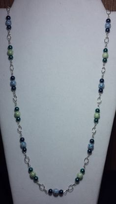 Handmade Beaded Necklace with Aqua Mix by KimsSimpleTreasures, $20.00
