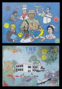 2 mosaic wall murals at Titusville High School; 1) depicting careers 2) depicting history of school by Lou Ann Weeks