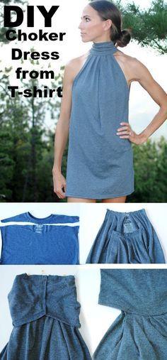 DIY Choker Dress/Tunic from T-shirt